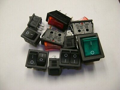 LOT OF 10 CHERRY ROCKER SWITCH PR SERIES SPST 6A @ 125AC 3A @ 250AC ON//OFF