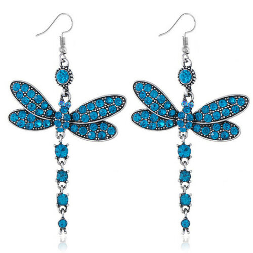 Woman Dragonfly Crystal Rhinestone Silver Plated Drop Dangle Hook Earrings /'Gift