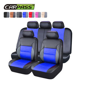 Universal-Car-Seat-covers-PU-Leather-Blue-Front-and-Rear-For-SUV-VAN-Honda-Mazda