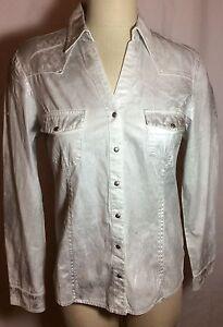 NWT-78-Silver-Jean-Company-Foiled-White-Cotton-Woman-039-s-Blouse-Size-Medium