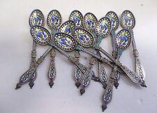 Antique Hallmarked Danish Sterling Silver Enameled w/Cloisonne Demitasse Spoons.