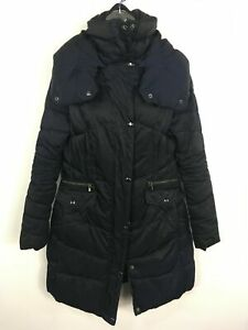 WOMENS-NEXT-NAVY-BLUE-ZIP-UP-PADDED-FITTED-LONG-WARM-WINTER-COAT-SIZE-UK-12
