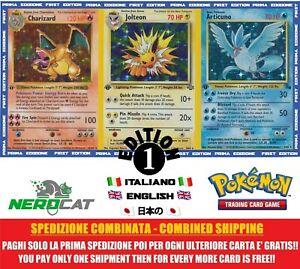 Carte-Pokemon-RARE-PRIMA-EDIZIONE-1-ED-Set-BASE-JUNGLE-FOSSIL-lotto-Pokemon