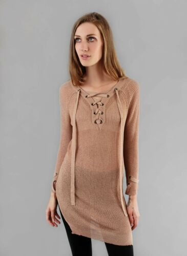 Long Knit SweaterLace Up XS S M L Selfie Couture SW30382