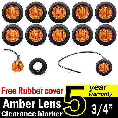 Side Marker Lights led Side Marker Lights led Trailer Marker Lights Trailer Marker Light led Marker Lights 10 Pcs TMH 3//4 Inch Mount Clear White Lens /& RED LED Markers