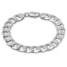 925 Sterling Silver Curb Link Bracelet 8 inch - 20 centimeter 10 mm wide Italy