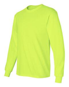 12-Gildan-ANSI-2400-Safety-Green-Adult-Long-Sleeve-T-Shirts-BULK-Lot-S-M-L-XL
