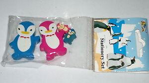Eraser-Gomas-de-Borrar-Goma-de-Pinguinos-x4-con-Bebe-Regalo-Goma-NUEVO-NEW