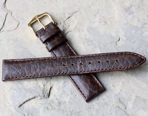 Hirsch-18mm-padded-amp-stitched-camel-grain-Genuine-Leather-vintage-watch-band-NOS