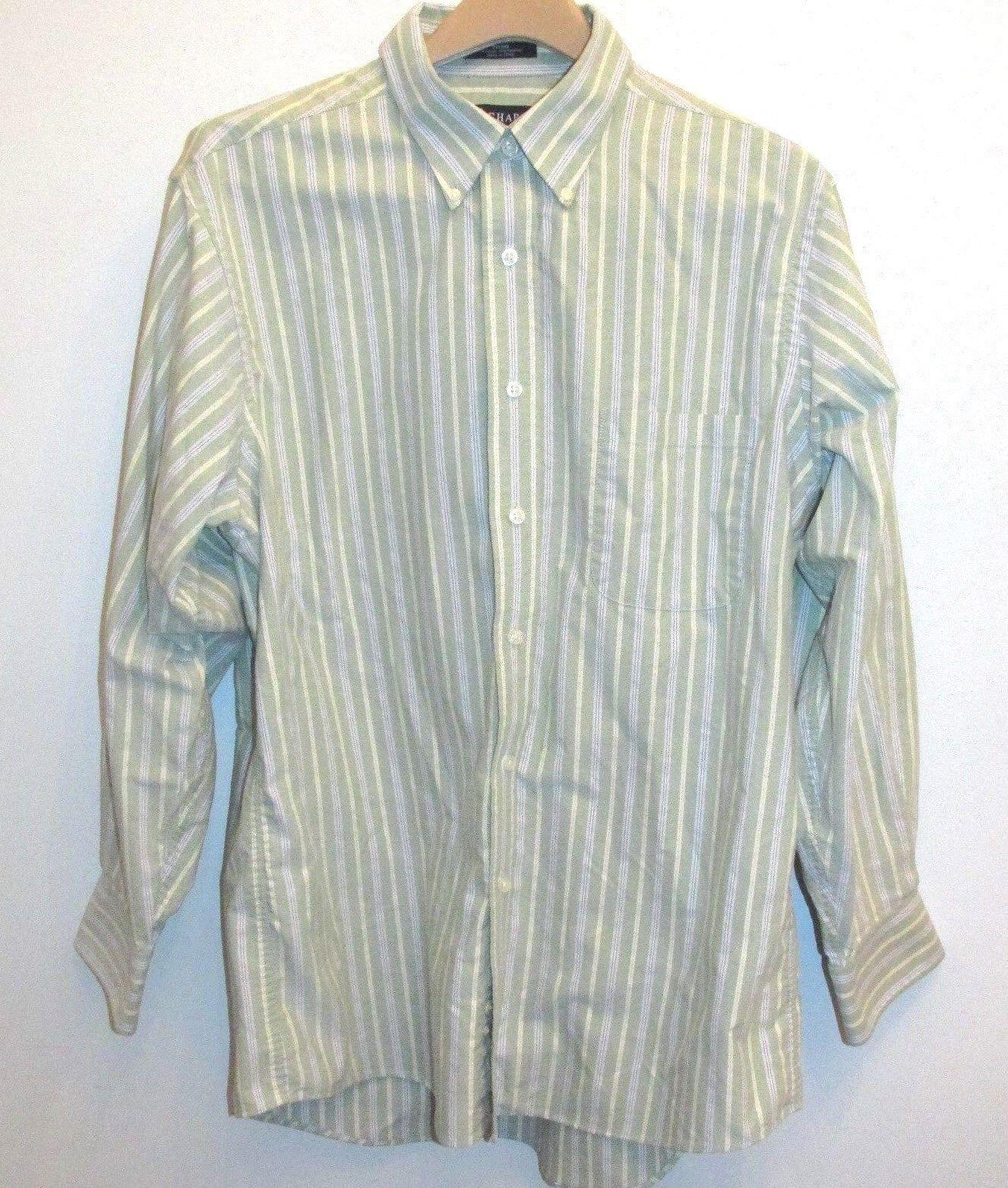 3a4c29a1203995 Chaps Mens Oxford Shirt Wrinkle Free Green Yellow Striped Button Down 16 16  1 2