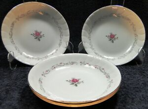 Fine-China-of-Japan-Royal-Swirl-Soup-Bowls-7-3-4-034-Salad-Set-of-4-Excellent