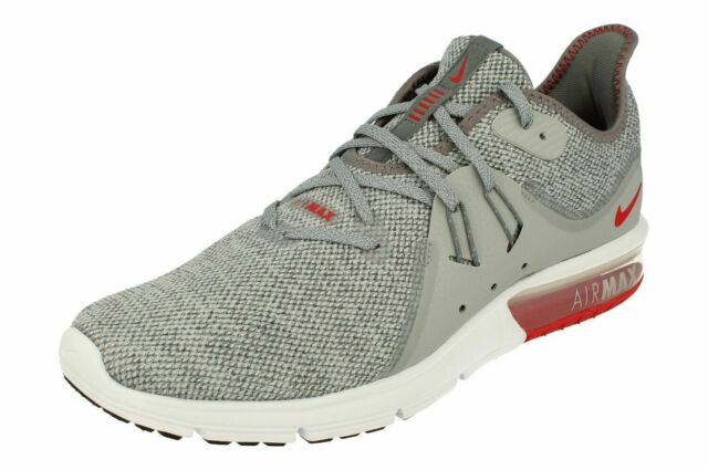 Nike Air Max Sequent 3 Running Shoes Cool Gray Red White 921694 060 Men's NEW