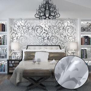 10m Luxury Silver 3d Victorian Damask Embossed Wallpaper Rolls