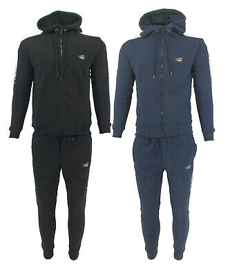 New Mens Time Is Money Foil Fade Full Tracksuit Zip Up Hoodie Jogger 2pcs Set