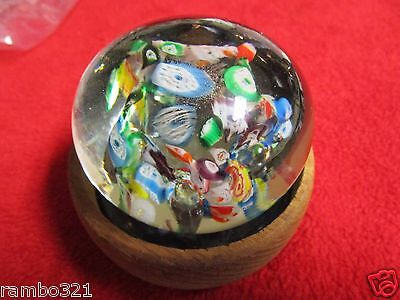 Vintage Millefiori Paperweight Hand Made Bubbles Blue Red Green Yellow Purple