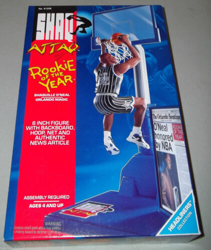 """Shaquille O/'Neal Orlando Magic /""""Shaq Attack/"""" Rookie of the Year Kenner 1993 NIB"""