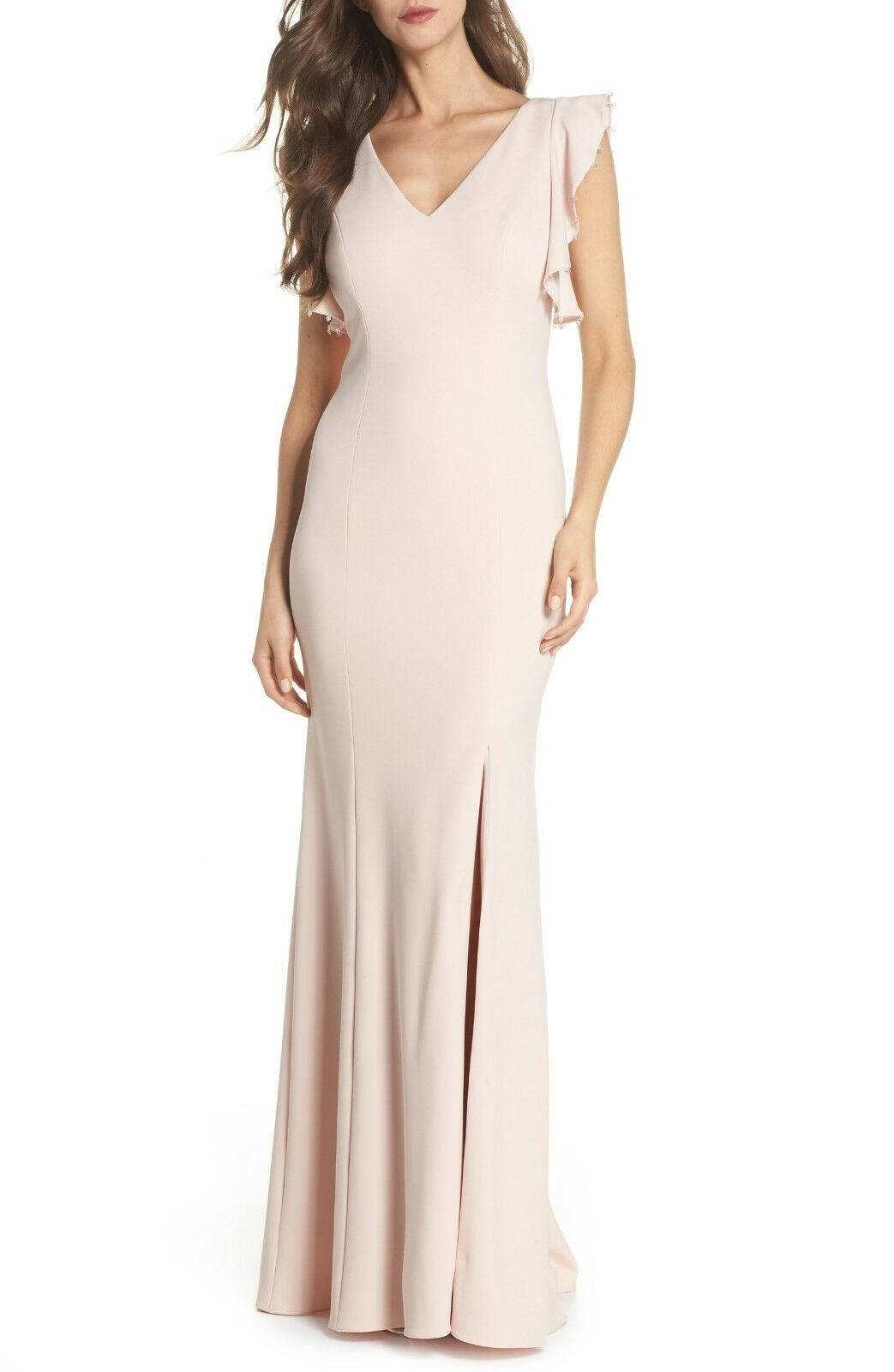 ADRIANNA PAPELL Flutter Manches Crêpe Trompette Robe, Taille 8, Retail  188,  BL1027