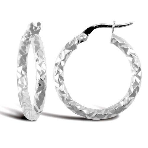 21mm Diameter Hammered Oval Hoop Earring 9k White Gold