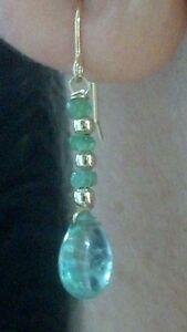 Pair-Zambian-Emerald-dangle-earrings-solid-14k-gold