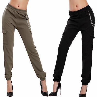 diversificato nella confezione vestibilità classica Regno Unito Pantaloni donna tasche laterali catena casual elastici sexy ...
