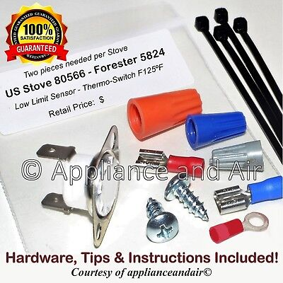 2 pieces US Stove 80566 Proof of Fire CERAMIC sensors F125 Hardware Instruct.