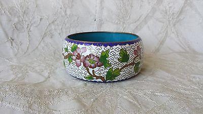 Vintage Chinese Cloisonne Bangle Bracelet Wide Chunky Floral Design