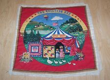 Red Printed Quilt Block Square Country Quilting Bee Show Pre-Quilted 16 x 16