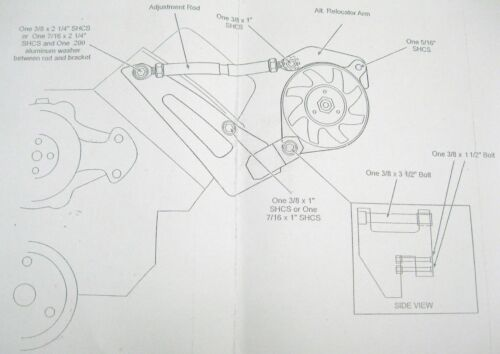 Big Block Chevy Short Water Pump Chrome Alternator Bracket BBC SWP 396 427 454
