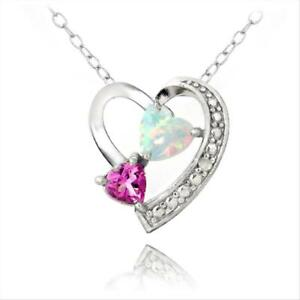 Silver diamond accent lab created pink sapphire white opal heart image is loading silver diamond accent lab created pink sapphire amp aloadofball Gallery