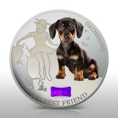 GEM STONE 1Oz Silver NEW Fiji 2013 Dogs /& Cats 2 My Best Friend DACHSHUND