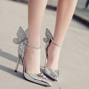 1ab319cc0619 Image is loading Womens-Party-Wedding-Sandals-Shoes-Butterfly-Wings-Ankle-