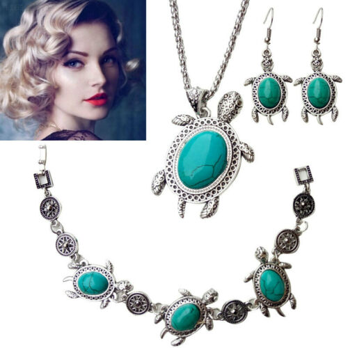 9D8F 3 Pcs//Set Jewelry Set Turquoise Necklace Lady Decoration Women Beauty