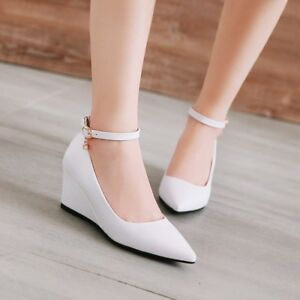 Womens-Buckle-Pointed-Toe-Wedge-Heels-Pumps-Solid-Work-Office-PU-Leather-Shoes