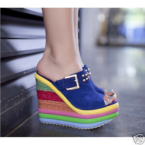 10e8d7fa52a0 Womens Rivet Stud Wedge High Heel Buckle Sandals Platform Rainbow ...