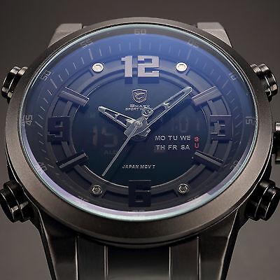 Shark Mens Digital LCD Stainless Steel Quartz Date Day Sport Wrist Watch Black