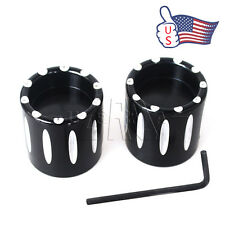 Black Deep Edge Cut Front Axle Cover Cap Nut For Harley Dyna Softail Glide US