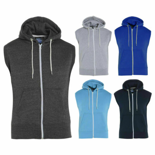 New Men/'s Boys Plain Zipper Fleece Sleeveless Hoodies Sweatshirt Gilet Hoodie