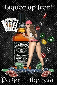 Liquor Poker 2 Man Cave DECOR Pinup Girl 4x6 Refrigerator Fridge Magnet Sign BAR