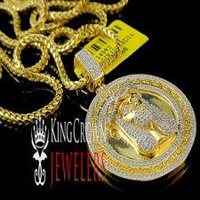 Real Genuine Diamond Mini Jesus Face Pendant Medallion Chain Yellow Gold Finish