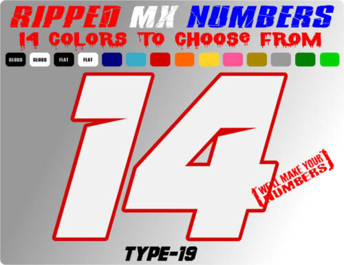 RIPPED 2 COLOR MX NUMBER PLATE RACING DECALS MOTORCROSS GRAPHIC STICKERS SX ATV