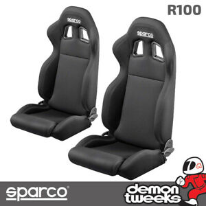 Sparco R100 Reclining Leather Bucket Seat - Black