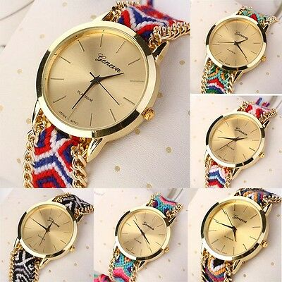 Women Knitted Braided Weaved Rope Band Bracelet Quartz Dial WristWatch Special