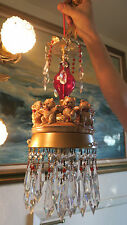 Teddy Bear porcelain Swag Lamp Chandelier brass spelter Ruby Crystal baby room