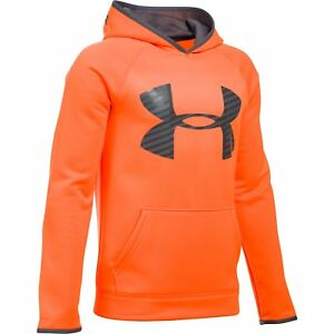 ce1520a08397 Boy s Under Armour Storm Armour Fleece Big Logo Hoodie Stealth Gray ...
