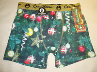 Crazy Boxer Men's Poly Blend Boxer Brief Holiday Christmas Tree Ornaments S