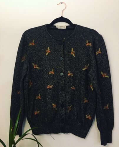 Wool Pattern Knitted Size Cardigan Sparkly 10 Valentino Vintage Bee Black 47qx71w