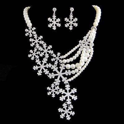 Bridal Snowflake Pearl Necklace Earring Set Rhinestone Crystal Clear Flower-E894