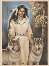 Cross Stitch Chart - Native American Indian Girl & Wolf No 405 TSG37