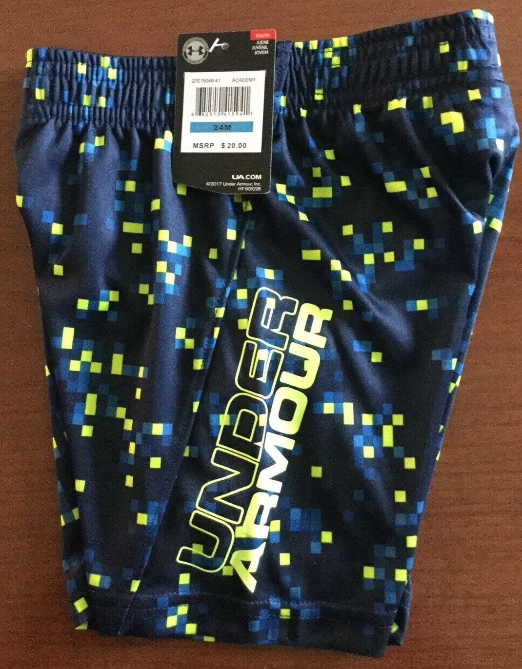 NWT UNDER ARMOUR BOYS SHORTS SIZE 24 MONTHS BLUE PIXEL//DIGITAL PATTERN MSRP $20