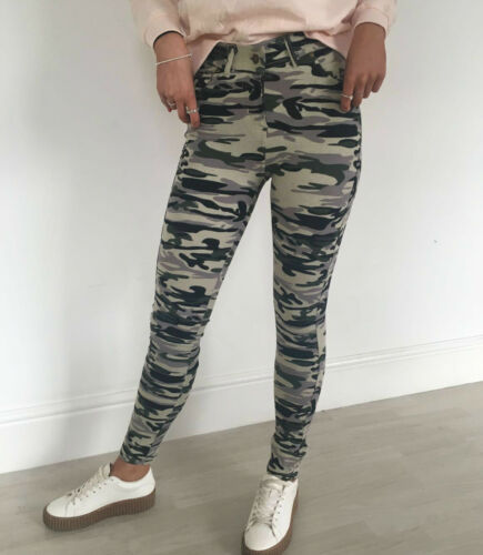 Damen-frauen Tarnmuster Armee Skinny Fit Stretch-jeans Jeggings Hose 8-16